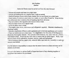 Photographer Job Description Resume Cleaning Services Job Description Resume Sample