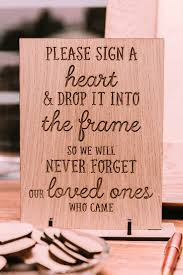 guest book alternative rustic wedding sign a heart and drop it into the frame
