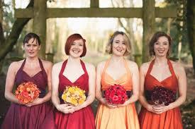 fall bridesmaid dresses wedding dresses ideas belt sleeves orange satin