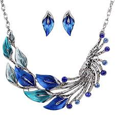 chunky crystal necklace sets images Yazilind ethnic style tibetan silver blue peacock crystal chunky jpg