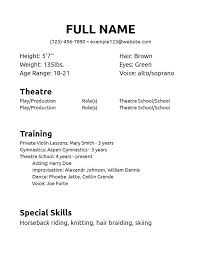 Theatrical Resume Sample musical theatre resume template musical theatre resume examples