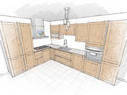 dessin de cuisine rendu crayonné meubles bois kitchen design