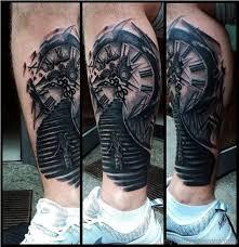 20 superb clock tattoo on leg