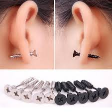black stud earrings 1pc stainless steel jewelry stud earrings fashion