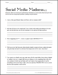 social media madness ela worksheet 3 student handouts