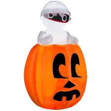 inflatable mummy in pumpkin 4 foot animated airblown halloween