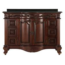 estates 49 in vanity in rich mahogany with granite vanity top in