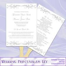 Paddle Fan Program Template Pink And Silver Wedding Fan Program Template Diy Silver Foil