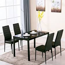 5 pc dining table set amazon com 4family 5 piece dining table set 4 chairs glass metal