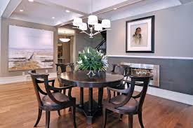 Two Tone Dining Room Paint Calgary Earth Tone Paint With Transitional Chandeliers Dining Room