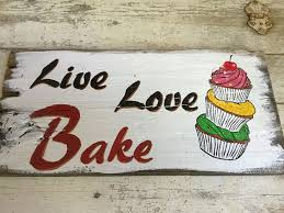 live love bake country farmhouse kitchen quote on wood wall decor