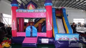 disney princess inflatable bouncy castle with slide pink backyard