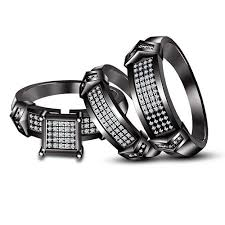 His And Her Wedding Rings by His Her White Stone And Black Gold Finish Trio Set Wedding Rings