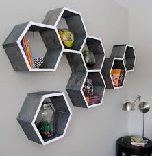 How To Decorate A Bookshelf Diy Wood Honeycomb Shelves Jenna Burger