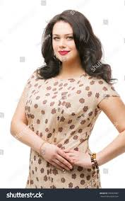 beautiful plus size young woman makeup stock photo 299404907