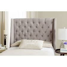 Tufted Linen Headboard by Safavieh London Taupe Linen Upholstered Tufted Wingback Headboard