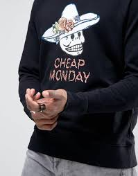 cheap monday long denim shirt with pocket cheap monday skull hat