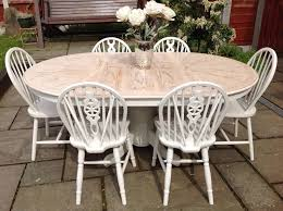 shabby chic round dining table shabby chic extending round oval dining table 6 chairs farmhouse