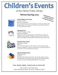 2013 children u0027s flyer to send clinton public library