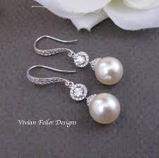 bridesmaid pearl earrings earrings bridal pearl earrings ivory cubic zirconia jewelry