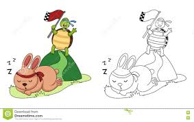 illustration of educational coloring book turtle and rabbit stock