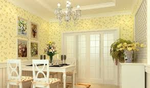 dining room charming dining room with yellow wallpaper decor