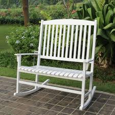 Outdoor Rocking Chair Cushion Sets Mainstays Outdoor Double Rocking Chair White Seats 2 Walmart Com