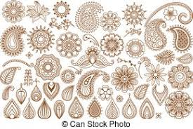 henna flower tattoo design elements henna paisley flowers