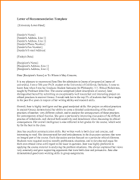 letter of recommendation format sample