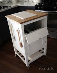 kitchen island with trash bin white how to small kitchen island prep cart with compost