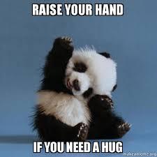 Give Me A Hug Meme - raise your hand if you need a hug raise your hand if you need a