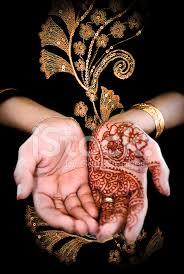 beautiful henna tattoo in a bride u0027s hand body art stock photos