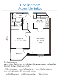 floor plan of the accessible one bedroom suite quinte living centre accessible one bedroom suite floor plan floor plan measurements may vary from actual units accessible one bedroom suite floor plan floor plan