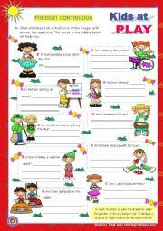 esl kids worksheets kids at play present continuous yes no