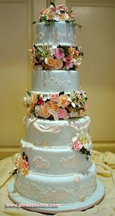 5 Tier Wedding Cake With Lace Detail And Sugar Flower Separators