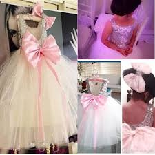 personalized scoop big bow flower dresses for weddings scoop sequined lovely