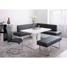 White Grey Dining Room Decoration Using Grey Leather Dining - Square kitchen table with bench