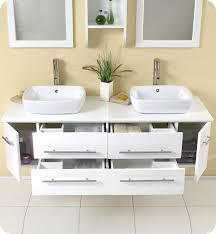 fresca bellezza white modern double vessel sink bathroom vanity