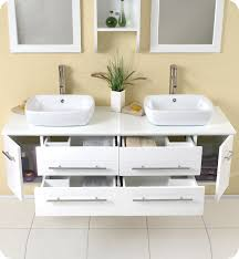 White Modern Bathroom Vanities Fresca Bellezza White Modern Double Vessel Sink Bathroom Vanity