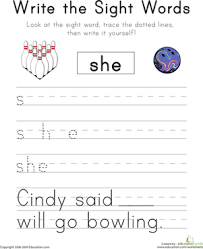 write the sight words