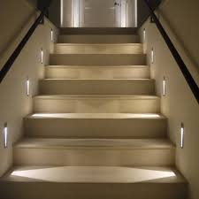 home interior cool stair way lighting idea with modern led