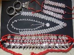 9 pieces temple jewelry south indian bridal odissi silver plated