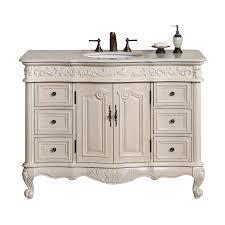 48 Single Sink Bathroom Vanity by Silkroad Exclusive Ella Antique White Undermount Single Sink