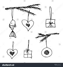 decorations illustration spruce branches ornaments stock