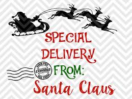 presents delivery special delivery from santa claus santa sack presents christmas svg