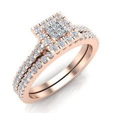 rings with square images Princess cut square halo diamond wedding ring set 0 59 carat total jpg