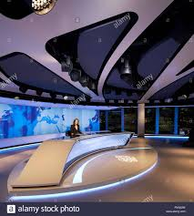 News Studio Desk by On Air Studio With Curved News Desk And Picture Window Al Jazeera