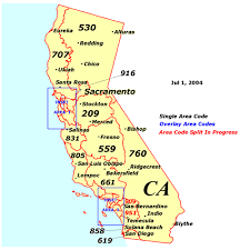 me a map of california california area code map