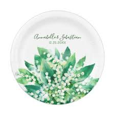 of the valley floral wedding paper plate
