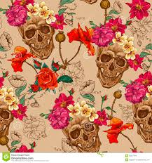 skull and flowers seamless background stock vector illustration